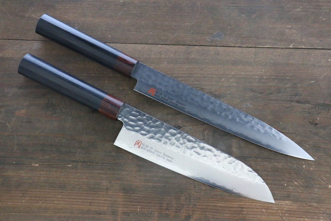 Iseya VG10 33 Layer Damascus Japanese Santoku & Sushi Chef Knife 210mm Set