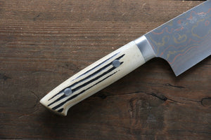 Takeshi Saji Blue Steel No.2 Colored Damascus  Santoku Japanese Chef Knife 180mm with White Bone Handle