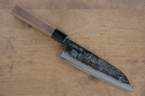 Sakai Takayuki Blue Steel No.2 Kurouchi Koshitantan engraving Santoku Japanese Knife 170mm Walnut Handle - Japanny - Best Japanese Knife