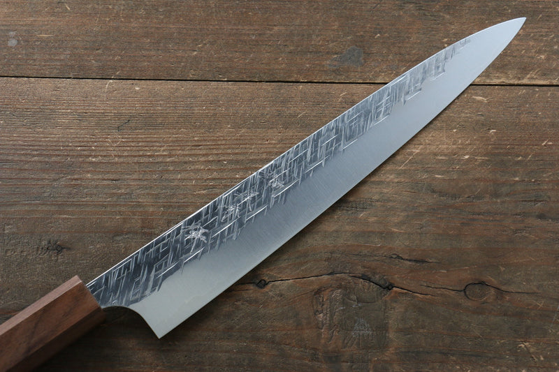 Yu Kurosaki Yu Kurosaki Raijin Cobalt Special Steel Hammered Sujihiki Japanese Knife 240mm with Walnut Handle - Japanny - Best Japanese Knife