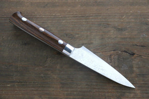 Takeshi Saji R2/SG2 Diamond Finish Damascus Petty Japanese Chef Knife 90mm with Iron Wood handle