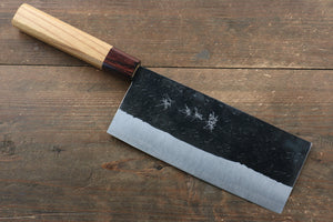 Yu Kurosaki Blue Super Hammered Chinese Cleaver Japanese Knife 180mm with Keyaki (Japanese Elm) Handle
