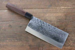 Yu Kurosaki Blue Super Hammered Chinese Cleaver Japanese Knife 180mm with Shitan Handle