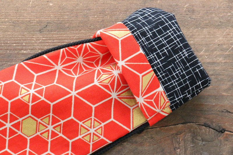 Japanese Style Knife Roll RedHexagon 1 Pocket - Japanny - Best Japanese Knife