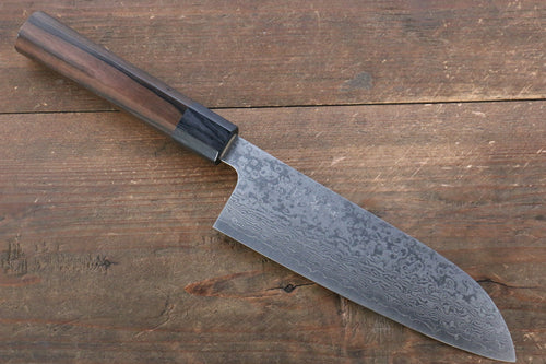Makoto Kurosaki VG10 Damascus Santoku Japanese Knife 165mm with Ebony Wood Handle - Japanny - Best Japanese Knife
