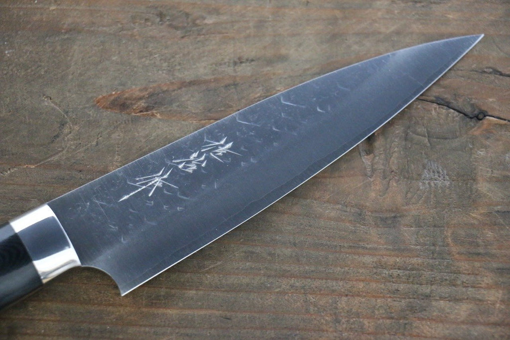 Takeshi Saji SRS13 Hammered Petty Japanese Chef Knife 130mm wtih Black Micarta handle