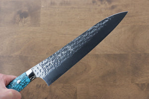 Seisuke VG10 Cobalt Gold Damascus Gyuto Japanese Knife 210mm with Micarta Handle