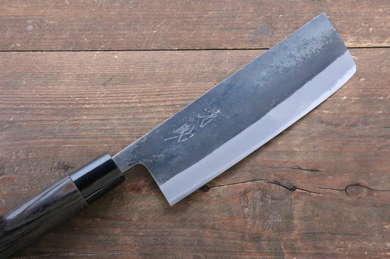 Seisuke White Steel Kurouchi Nakiri Japanese Knife 165mm Burned Chestnuts Handle - Japanny - Best Japanese Knife