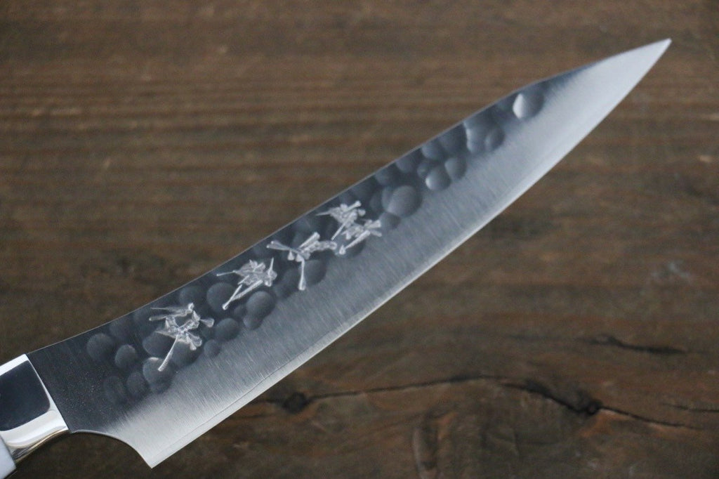 Yu Kurosaki R2 Clad Hammered Petty Japanese Chef Knife 130mm White Stone Handle