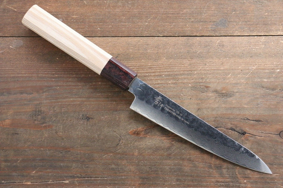 Sakai Takayuki VG10 33 Layer Damascus Petty Knife 150mm with Keyaki Handle(Japanese Elm)