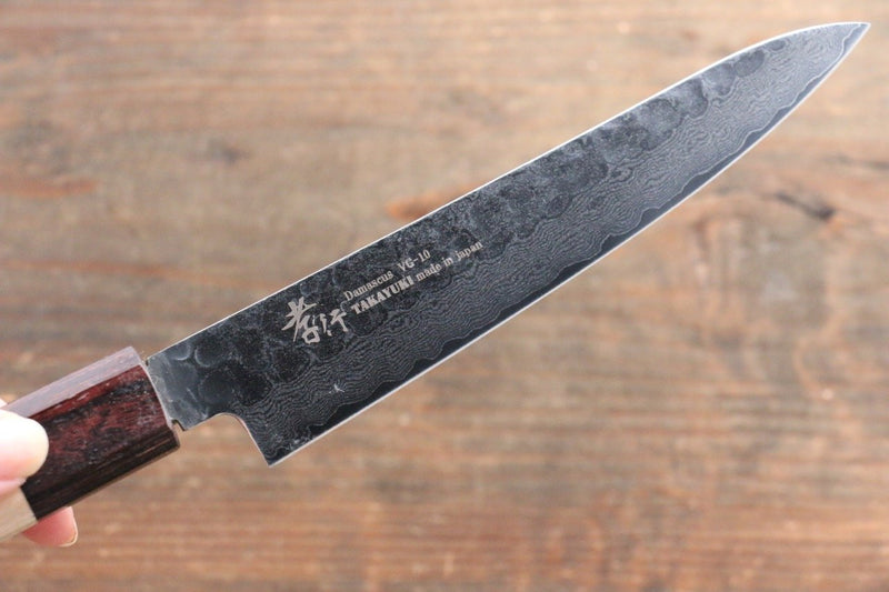 Sakai Takayuki VG10 33 Layer Damascus Petty-Utility Japanese Knife 150mm Keyaki (Japanese Elm) Handle - Japanny - Best Japanese Knife