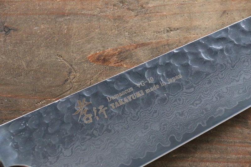 Sakai Takayuki VG10 33 Layer Damascus Kengata Santoku Japanese Knife 160mm Keyaki (Japanese Elm) Handle - Japanny - Best Japanese Knife