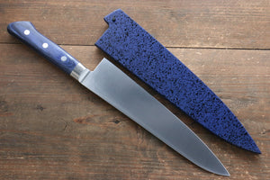 Seisuke Molybdenum Gyuto Japanese Knife 210mm with Blue Pakka wood Handle with Saya
