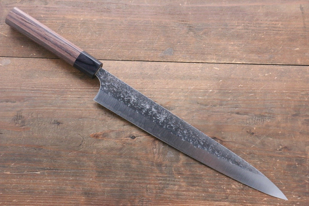 Yoshimi Kato Silver Steel No.3 Hammered Gyuto Japanese Chef Knife 210mm with Brown Lacquered Handle