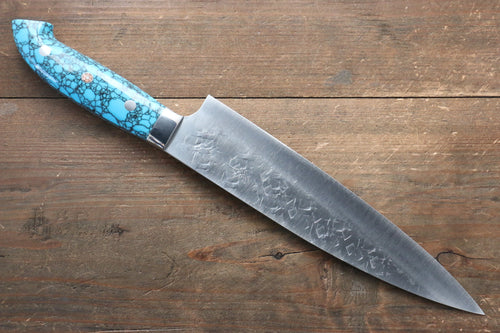 Takeshi Saji SRS13 Hammered Gyuto Japanese Knife 210mm with Blue Turquoise (Nomura Style) Handle - Japanny - Best Japanese Knife