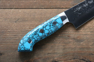 Takeshi Saji SRS13 Hammered Petty-Utility Japanese Knife 135mm with Blue Turquoise (Nomura Style) Handle