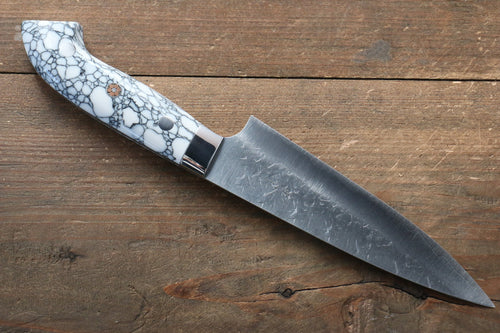 Takeshi Saji SRS13 Hammered Petty-Utility Japanese Knife 135mm with WhiteBlack Stone Handle - Japanny - Best Japanese Knife