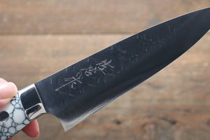 Takeshi Saji SRS13 Hammered Petty-Utility Japanese Knife 135mm with WhiteBlack Stone Handle