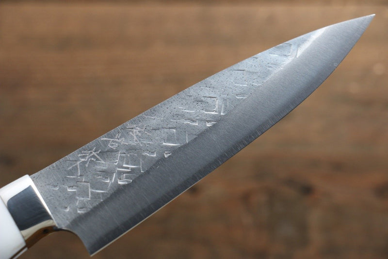Takeshi Saji SRS13 Hammered Petty Japanese Chef Knife 130mm with White Stone Handle - Japanny - Best Japanese Knife