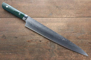 Takeshi Saji VG10 Diamond Finish Damascus Sujihiki Japanese Knife 270mm with Green Micarta Handle