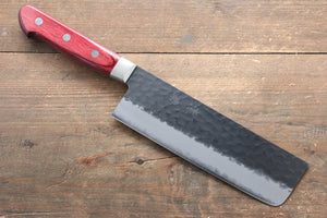 Seisuke Blue Super Hammered Kurouchi Nakiri Japanese Knife 165mm with Red Pakka wood Handle