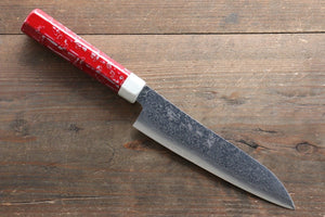 Yu Kurosaki R2/SG2 Damascus Small Santoku Japanese Knife 155mm with Red Lacquered Handle