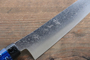 Yu Kurosaki R2/SG2 Damascus Small Santoku Japanese Knife 155mm with Blue Lacquered Handle