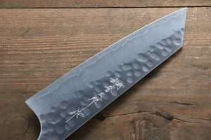 Yoshimi Kato Silver Steel No.3 Hammered Bunka Japanese Knife 165mm with Brown Lacquered Handle
