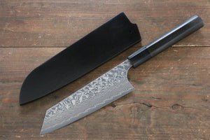 Yoshimi Kato R2/SG2 Damascus Bunka Japanese Knife 165mm with Black Lacquered Handle