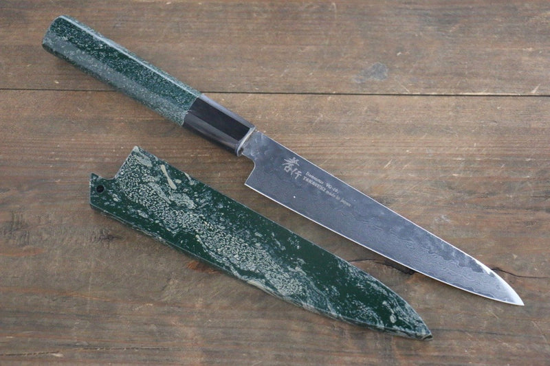 Sakai Takayuki VG10 33 Layer Damascus Hammered Petty-Utility Japanese Knife 150mm Green Lacquered Handle with Sheath - Japanny - Best Japanese Knife