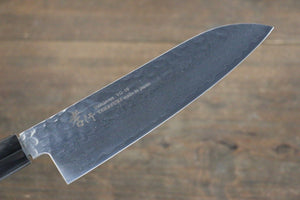 Sakai Takayuki 33 Layer Damascus Hammered Santoku Japanese Chef Knife 170mm Green Lacquered Handle With Saya