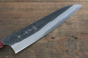 Yu Kurosaki Fujin Blue Super Hammered Gyuto Japanese Knife 210mm with American Cherry Handle