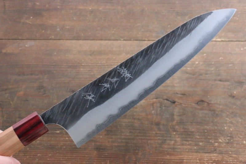 Yu Kurosaki Fujin Blue Super Hammered Gyuto Japanese Knife 240mm with American Cherry Handle - Japanny - Best Japanese Knife