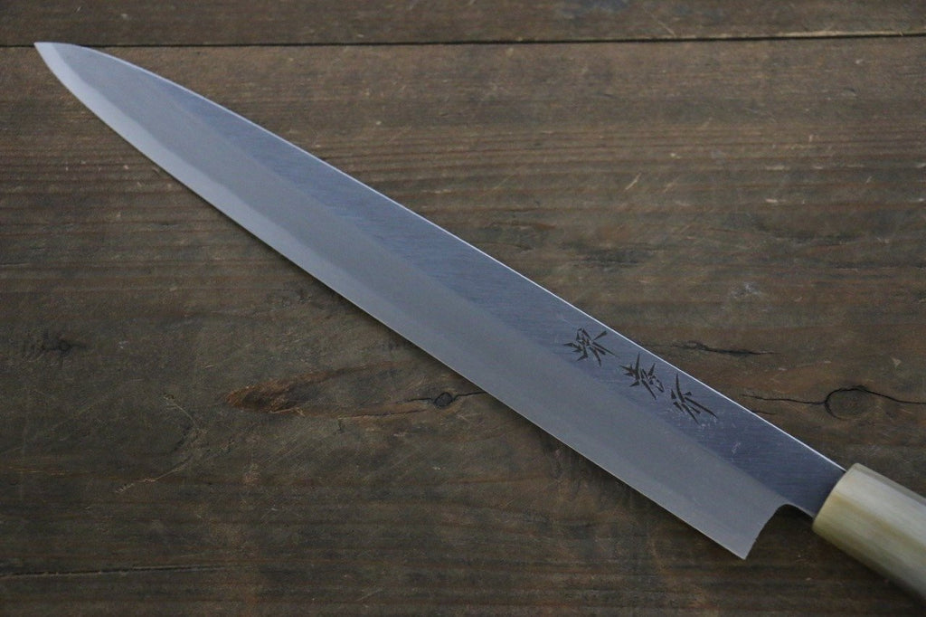 [Left Handed] Sakai Takayuki Kasumitogi White Steel Yanagiba Japanese Chef Knife Water Buffalo Handle