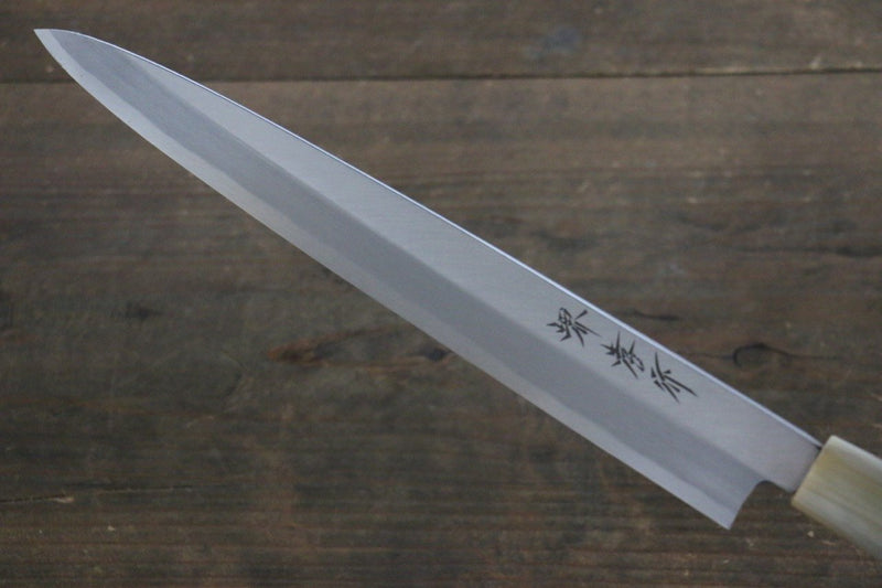 Sakai Takayuki [Left Handed] Kasumitogi White Steel Yanagiba Japanese Knife Magnolia Handle - Japanny - Best Japanese Knife