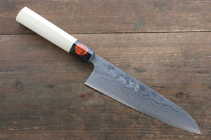 Shigeki Tanaka Blue Steel No.2 17 Layer Damascus Japanese Chef's Gyuto Knife 180mm  with Magnolia Handle (ferrule: Water Buffalo)