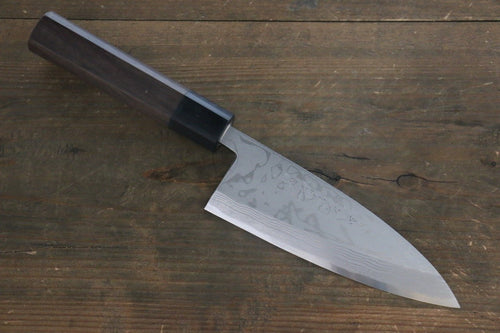 Hideo Kitaoka White Steel No.2 Damascus Deba Japanese Chef Knife 150mm - Japanny - Best Japanese Knife