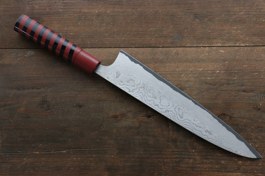 Takeshi Saji VG10 Damascus Gyuto Japanese Knife 240mm with Cashew paint (Red) Handle