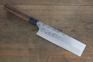 Hideo Kitaoka White Steel No.2 Damascus Kakugata Usuba Japanese Chef Knife 180mm