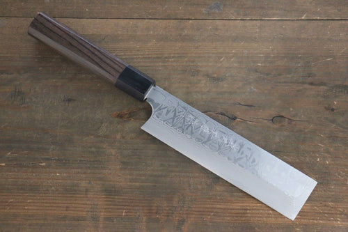 Hideo Kitaoka White Steel No.2 Damascus Kakugata Usuba Japanese Chef Knife 165mm - Japanny - Best Japanese Knife