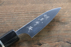 Yu Kurosaki R2/SG2 Mirrored Finish Petty-Utility Japanese Knife 80mm with Ebony Wood Handle (ferrule: Water Buffalo Horn)
