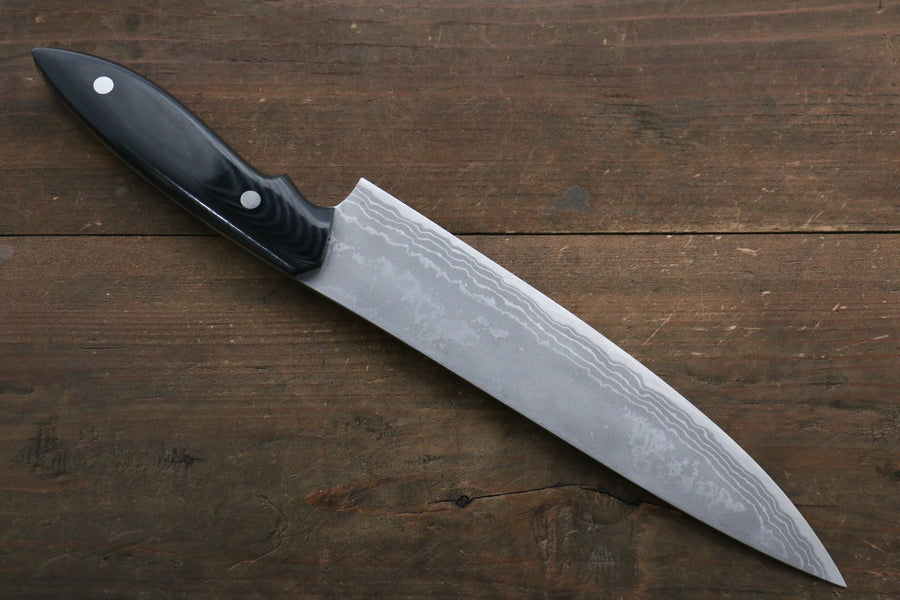 Kazuo Nomura White Steel No.2 Damascus Gyuto Japanese Knife 210mm with Micarta Handle