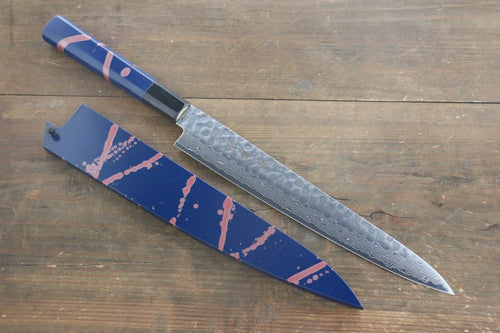 Sakai Takayuki AUS-10 45 Layer Damascus Hammered Sujihiki Japanese Chef Knife 240mm Blue Lacquered Handle With Saya - Japanny - Best Japanese Knife