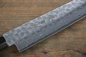 Sakai Takayuki AUS-10 45 Layer Damascus Hammered Sujihiki Japanese Chef Knife 240mm Blue Lacquered Handle With Saya