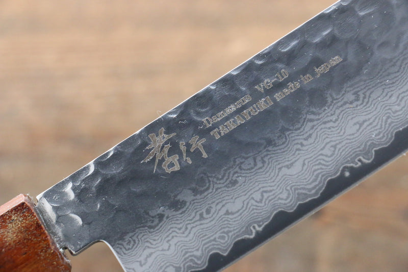 Sakai Takayuki VG10 33 Layer Damascus Nakiri Japanese Knife 160mm Live oak Lacquered (Seiren) Handle - Japanny - Best Japanese Knife