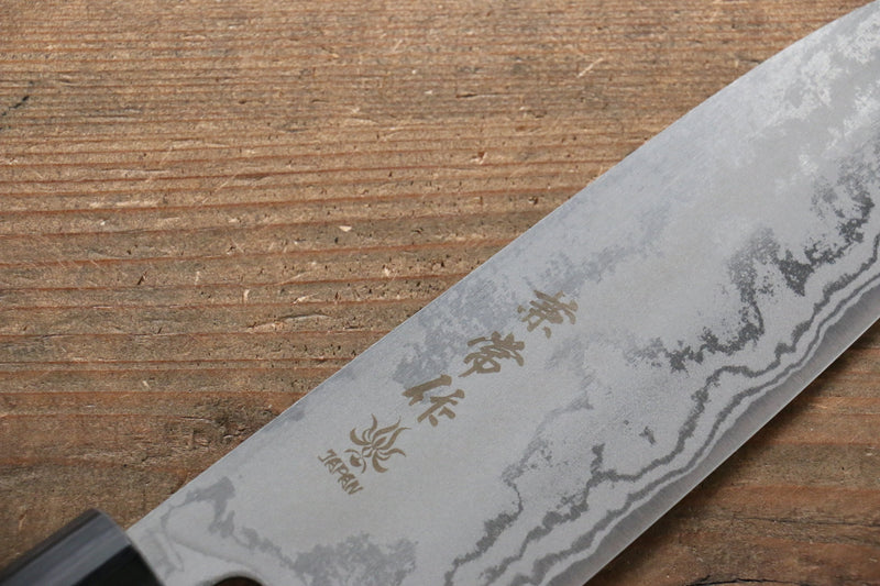 Kanetsune Blue Steel No.2 Damascus Santoku Japanese Knife 165mm with Shitan Handle - Japanny - Best Japanese Knife