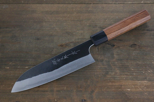Yoshimi Kato Blue Super Clad Kurouchi Santoku Japanese Chef Knife 165mm Honduras Handle - Japanny - Best Japanese Knife