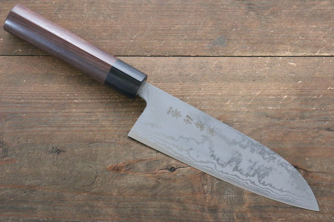 Kanetsune Blue Steel No.2 Damascus Santoku Japanese Knife 165mm with Shitan Rosewood Handle