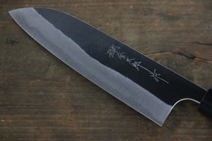Yoshimi Kato Blue Super Clad Kurouchi Santoku Japanese Chef Knife 165mm Honduras Rosewood Handle
