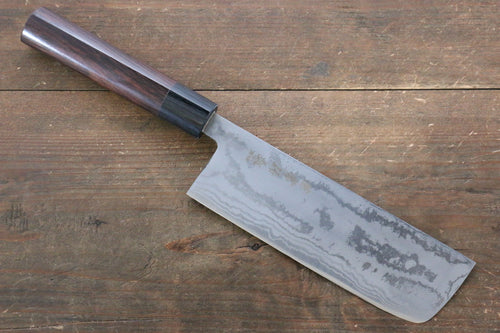 Kanetsune Blue Steel No.2 Damascus Nakiri Japanese Knife 165mm Shitan Handle - Japanny - Best Japanese Knife
